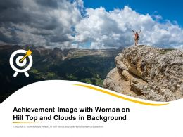 Achievement Image With Woman On Hill Top And Clouds In Background