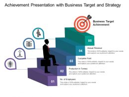 Achievement Presentation With Business Target And Strategy