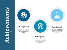 Achievements With Three Icons Ppt Infographic Template Background Images