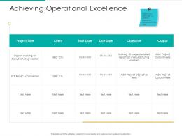 Achieving Operational Excellence Output Project Ppt Icon Inspiration