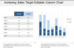 Achieving Sales Target Editable Column Chart Powerpoint Guide