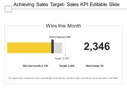 Achieving Sales Target Sales Kpi Editable Slide Ppt Example
