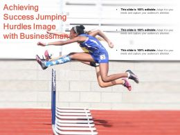 Achieving Success Jumping Hurdles Image With Businessman