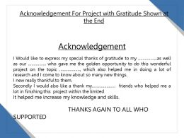 Acknowledgement For Project With Gratitude Shown At The End