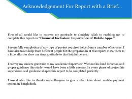 Acknowledgement For Report With A Brief Description Of Project