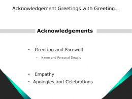 Acknowledgement Greetings With Greeting Farewell Empathy And Celebrations