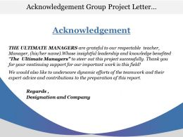 Acknowledgement Group Project Letter With Regards Designation And Company