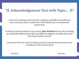 Acknowledgement Text With Topic Mentor Research Work