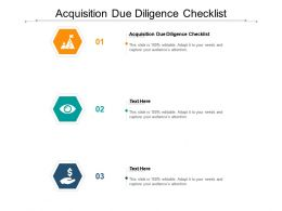 Acquisition Due Diligence Checklist Ppt Powerpoint Presentation Ideas Icon Cpb