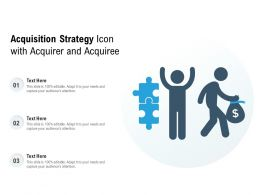 Acquisition Strategy Icon With Acquirer And Acquiree