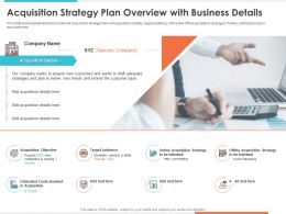 Acquisition Strategy Plan Overview With Business Target Audience Presentation Graphics