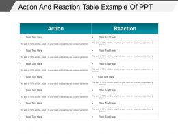 Action And Reaction Table Example Of Ppt