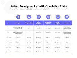 Action Description List With Completion Status