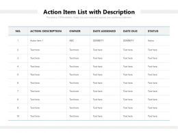 Action Item List With Description