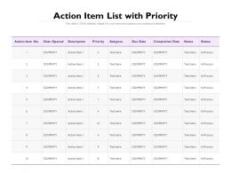 Action Item List With Priority