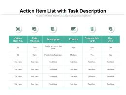 Action Item List With Task Description