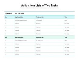 Action Item Lists Of Two Tasks