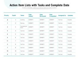 Action Item Lists With Tasks And Complete Date