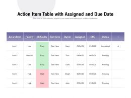 Action Item Table With Assigned And Due Date