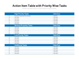 Action Item Table With Priority Wise Tasks