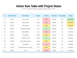 Action Item Table With Project Status