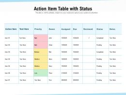 Action Item Table With Status