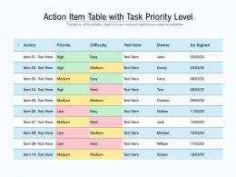 Action Item Table With Task Priority Level