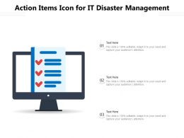 Action Items Icon For It Disaster Management