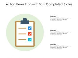 Action Items Icon With Task Completed Status