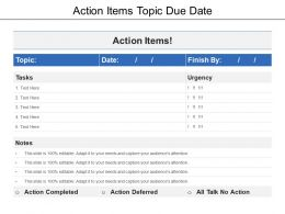 Action Items Topic Due Date