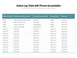Action Log Table With Person Accountable