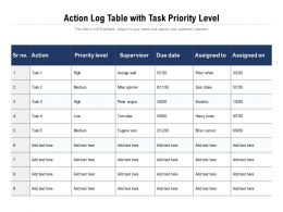 Action Log Table With Task Priority Level