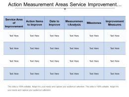 Action Measurement Areas Service Improvement Plan Template