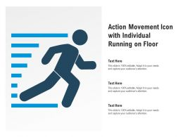 Action Movement Icon With Individual Running On Floor