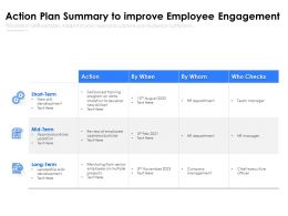 Action Plan Summary To Improve Employee Engagement