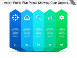 Action Points Five Points Showing Gear Upward Arrow And Magnifying Glass