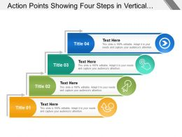 Action Points Showing Four Steps In Vertical Manner