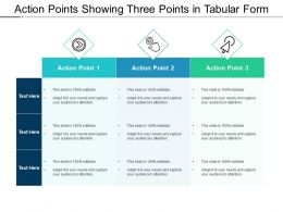 Action Points Showing Three Points In Tabular Form