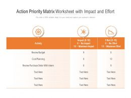 Action Priority Matrix Worksheet With Impact And Effort