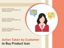 Action Taken By Customer To Buy Product Icon