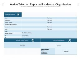 Action Taken On Reported Incident At Organization