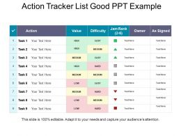 Action Tracker List Good Ppt Example