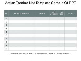 Action Tracker List Template Sample Of PPT