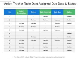 Action Tracker Table Date Assigned Due Date And Status