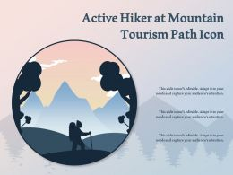 Active Hiker At Mountain Tourism Path Icon