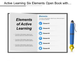 Active Learning Six Elements Open Book With Pen Having Icons