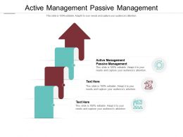 Active Management Passive Management Ppt Powerpoint Presentation Portfolio Cpb
