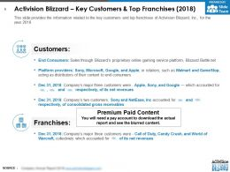 Activision Blizzard Key Customers And Top Franchises 2018