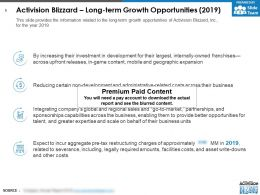 Activision Blizzard Long Term Growth Opportunities 2019