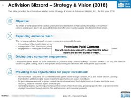 Activision Blizzard Strategy And Vision 2018